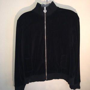 Michael Kids Black Velour Mockneck Track Jacket L